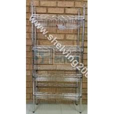 1.4m x 300 x 600 4 Tier Basket Shelves Chrome