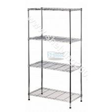 1.38m x 360mm x 750mm 4 Straight Shelves Chrome